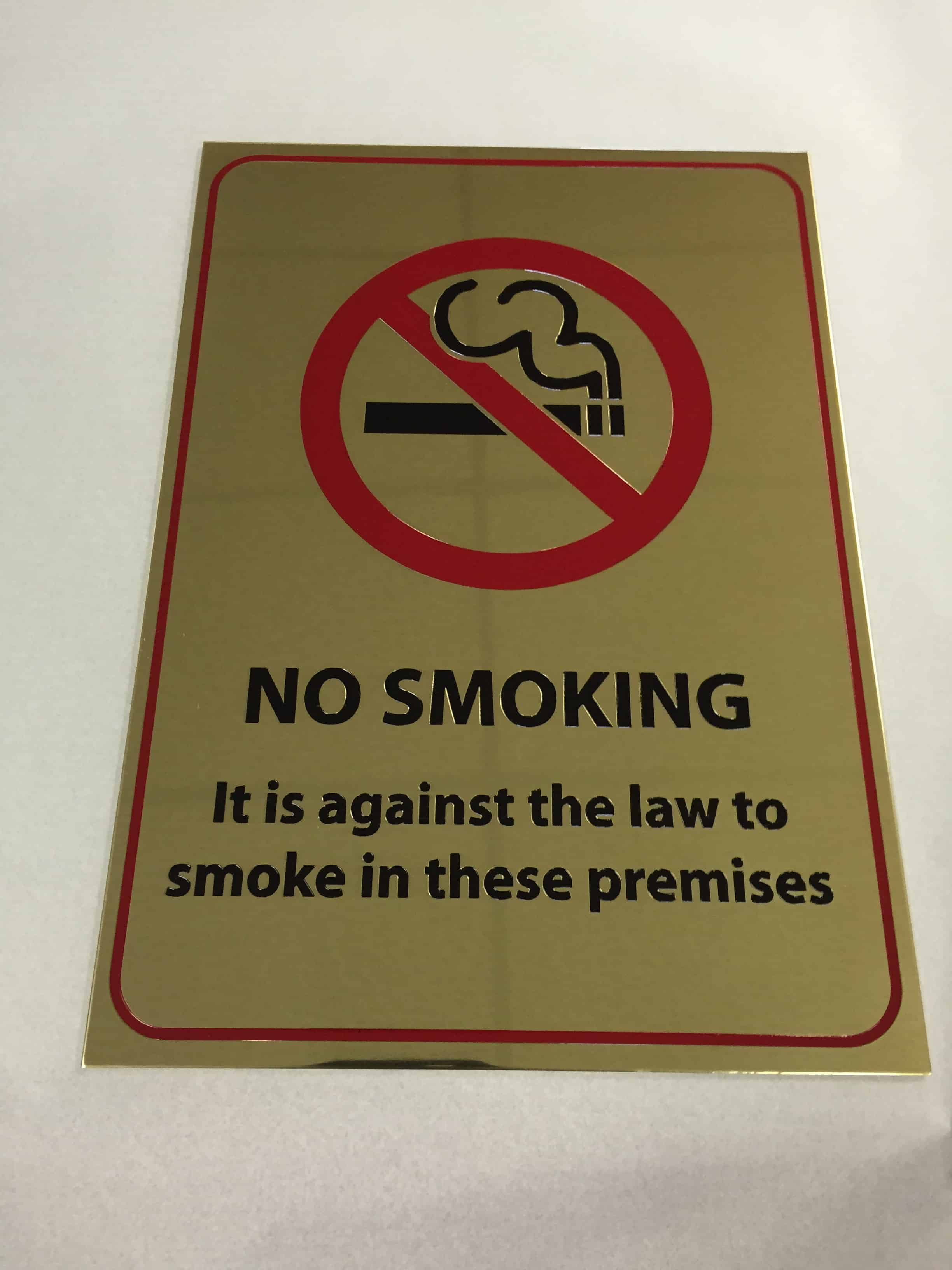 Brass Etched & Infilled – No Smoking signs